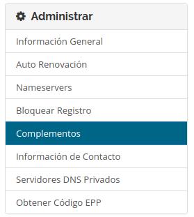 complemento en registro de dominios